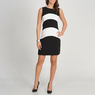 Sharagano Womens Black and White Colorblocked Sleeveless Dress