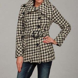 Dollhouse Womens Black/ Grey Wool Belted Coat