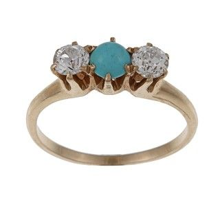 14k Yellow Gold 1/2ct TDW Diamond and Turquoise Estate Ring (J K, SI1