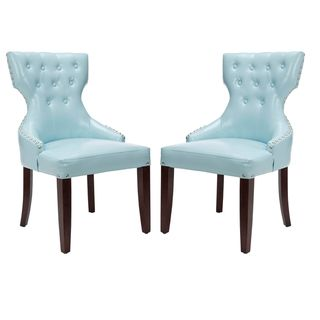 Aqua Tufted Nailhead Blue Leather Side Chairs (Set of 2)