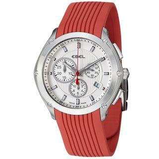 Ebel Mens Classic Sport Silver Dial Red Rubber Strap Quartz Watch