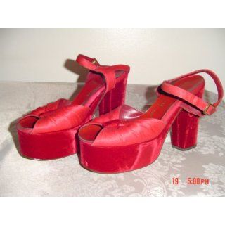 Vintage 1970s Red Crushed Velvet Platform Shoes: Everything Else