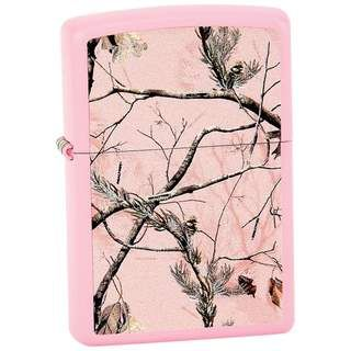 Zippo Matte Pink Finish and Realtree APG Pink Camo Pattern Lighter