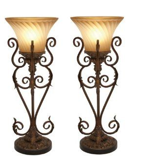 Casa Cortes Buckingham Torchiere 30 Iron Table Lamp   Set