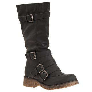 Riverberry Womens Combat Buckle Detail Boots