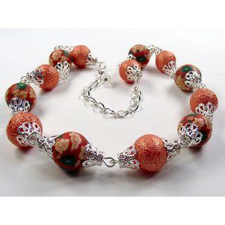 Silverplated Tangerine Orange Bumpy Glass Pearl Wedding Jewelry Set