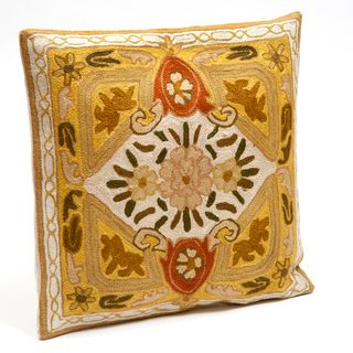 Kashmiri Floral Chain Stitched Cushion Cover (India)