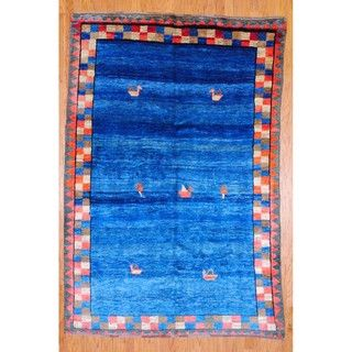 Persian Hand Knotted Gabbeh Blue and Red Wool Rug (65 x 95
