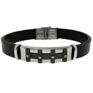 Stainless Steel and Black Leather Mens Bracelet