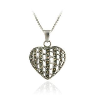 Sterling Silver Woven Marcasite Heart Necklace