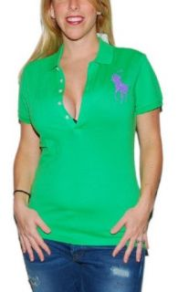 Polo Ralph Lauren Womens Rhinestone Big Pony Shirt Green