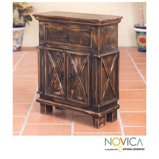 Handcrafted Pinewood Antique Brown Crisscross Nightstand (Mexico