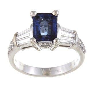 18k White Gold Blue Sapphire and 3/4ct TDW Diamond Ring (G H, VS1 VS2