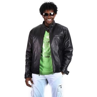 United Face Mens Moto Leather Biker Jacket