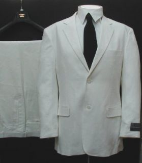 New Mens Two Button Super 150s White Linen Summer Suit Clothing