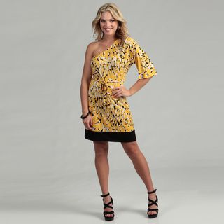 Emma & Michele Womens Yellow One shoulder Dress