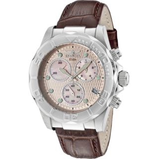 Invicta Mens Elite Brown Genuine Calfskin Leather Chronograph Watch