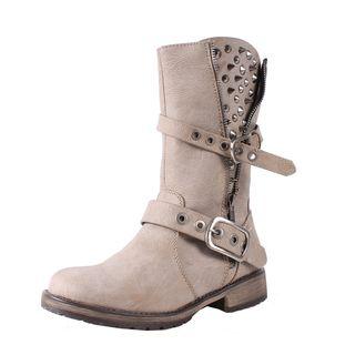 Breckelle by Beston Womens Rocker Ice Mid calf Combat Boots