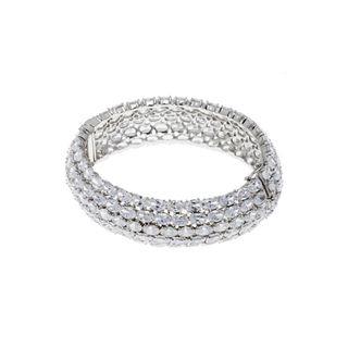CW Stainless Steel Womens White Cubic Zirconia Bracelet