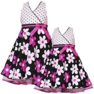 Rare Editions Girl 2T 6X FUCHSIA PINK BLACK WHITE POLKA