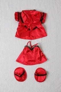 Red Silk Nightie w/Robe & Slippers Pajamas Outfit Teddy