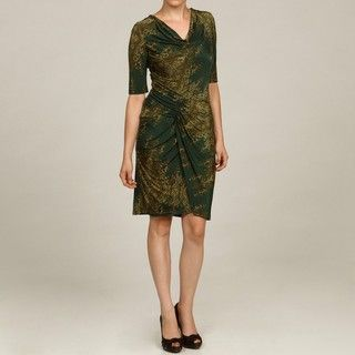 Nine West Womens Pine Green Ruched Dress
