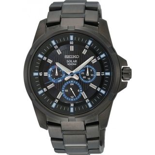SEIKO Mens Solar Black Ion Blue Accent Date Dial Watch