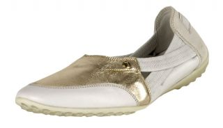 Tods White and Gold Leather Flats