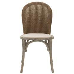 La Rochelle Antiqued Oak Finish Taupe Side Chair (Set of 2
