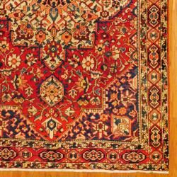 Antique 1940s Persian Hand knotted Bakhtiari Red/ Blue Wool Rug (69 x