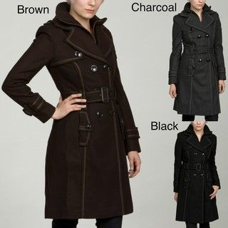 Miss Sixty Womens Stitch Detailed Wool Coat FINAL SALE