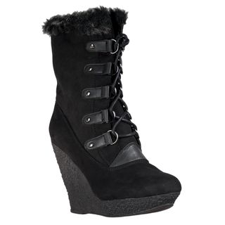 Wild Diva Womens Jayma Wedge Heel Faux Fur trimmed Boots