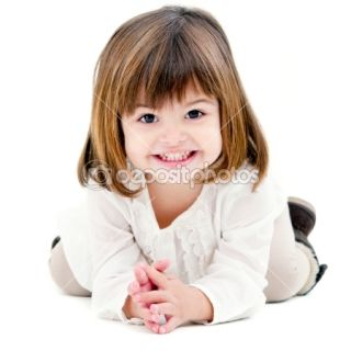 Portrait of cute little girl isolated on white  Photographie Karel