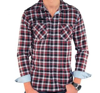 191 Unlimited Mens Fashionable Plaid Shirt