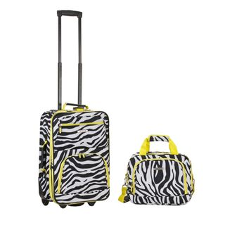 Rockland Expandable Lime Zebra 2 piece Lightweight Carry on Luggage