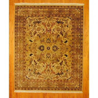 Indo Hand knotted Tabriz Beige/ Gold Wool Rug (81 x 103)