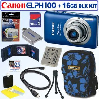 Canon Powershot Elph 100 HS 12.1MP Blue Digital Camera with 16GB Kit