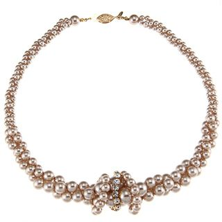 Roman Beige Faux Pearl and Crystal Twist Necklace
