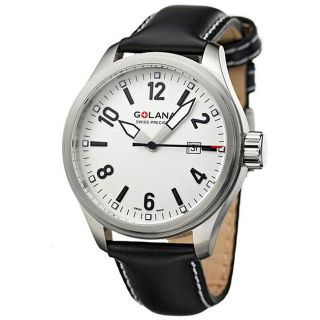 Golana Swiss Mens Terra Pro 100 Steel Case Leather Strap Watch