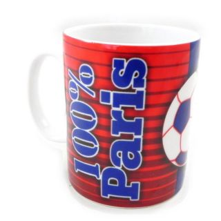 Mug porcelaine 100% Paris rouge bleu   Mug 100% Paris en