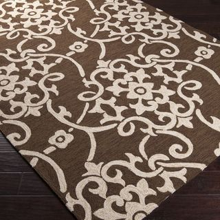Hand hooked Cottage Green Indoor/Outdoor Floral Rug