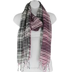 Hand woven Silk Pink and Black Plaid Scarf (India)