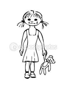 Sad little girl with the bears  Stock Vector © Marian Garai #9313453