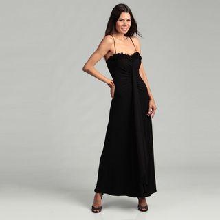 Onyx Nite Womans Rosette Spaghetti Strap Gown