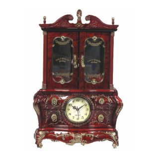 Musical Clock/ Drawer and Mirror Jewelry Cabinet Box