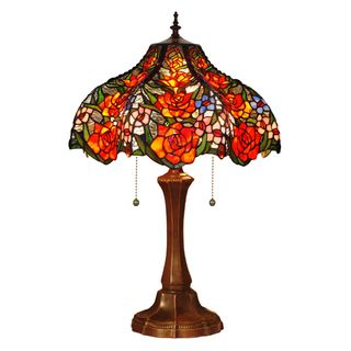 Red Roses Handcrafted Stained Glass Tiffany Style Table Lamp