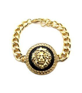 New Rihanna Gold/Black Lion Head Charm Bracelet BLQ158G