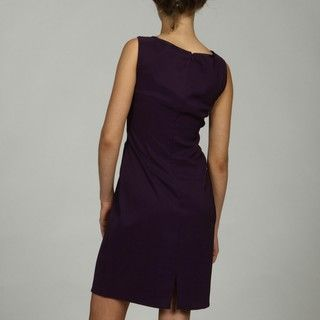Connected Apparel Womens Eggplant Solid Dress