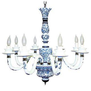 Blue Garden Ceramic 8 light Chandelier