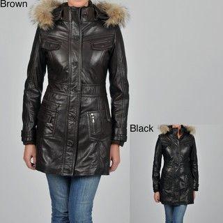 Knoles & Carter Womens Plus Size Leather Faux Fur trimmed Hood 7/8